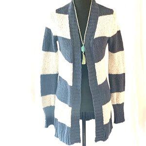 Roxy Blue and Cream Striped Cardigan Sweater M